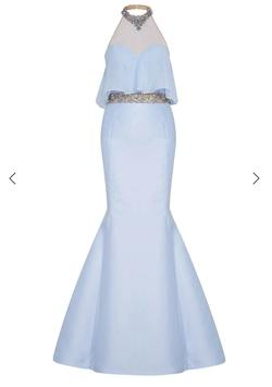 Tarik Ediz Blue Size 4 Mermaid Dress on Queenly