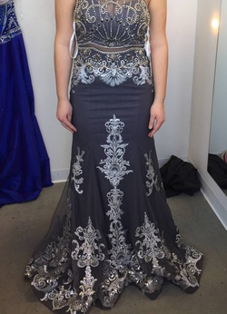 Queenly size 8 Jovani Silver Mermaid evening gown/formal dress