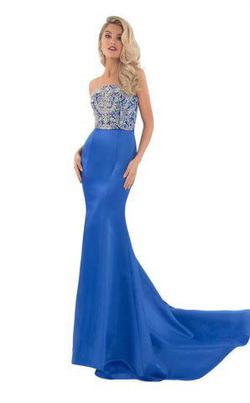 Rachel Allan Blue Size 12 Strapless Pageant Train Dress on Queenly