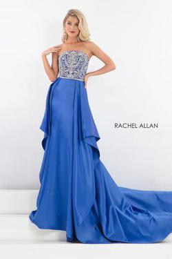 Queenly size 12 Rachel Allan Blue Train evening gown/formal dress