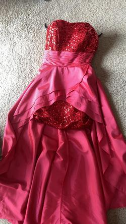Hebeos Red Size 8 High Low Prom Pageant Train Dress on Queenly