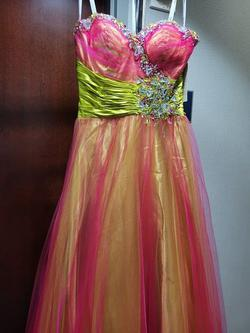 Style 65126L Rachel Allan Orange Size 4 Prom Fitted A-line Dress on Queenly