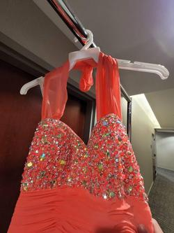 Karishma Creations Orange Size 4 Prom Halter Straight Dress on Queenly