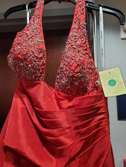 Style 1494 Terani Couture Red Size 4 Halter Tall Height Fitted A-line Dress on Queenly