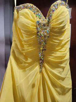 Style 40020 Jovani Yellow Size 4 Prom Jewelled Strapless Straight Dress on Queenly