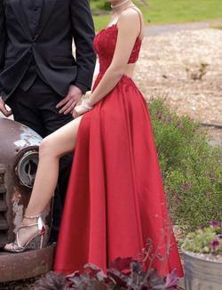 La Femme Red Size 00 Side Slit Pockets A-line Dress on Queenly
