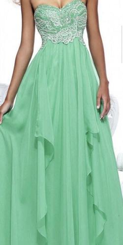 Sherri Hill Green Size 6 Strapless Ball gown on Queenly