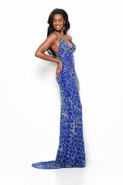 Style 7154 Jasz Couture Blue Size 6 Tall Height Straight Dress on Queenly