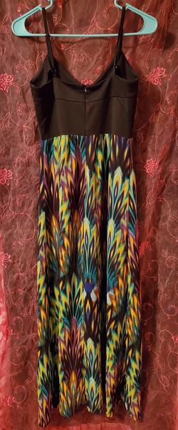 nicole by Nicole Miller Multicolor Size 4 V Neck Yellow Blue A-line Dress on Queenly