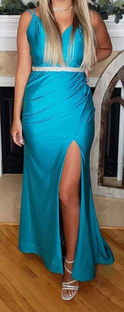 Style 3708RC Val Stefani Blue Size 6 Train Side slit Dress on Queenly
