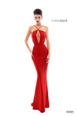 Queenly size 2 Tarik Ediz Red Straight evening gown/formal dress