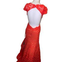 La femme Orange Size 0 Lace Mermaid Dress on Queenly
