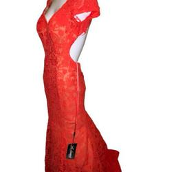 La femme Orange Size 0 Backless Mermaid Dress on Queenly