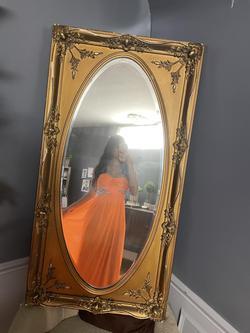 Jodi Kristopher Orange Size 2 Strapless Straight Dress on Queenly