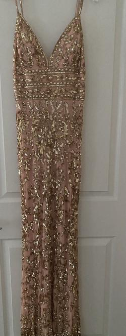 Style 53136 Sherri Hill Gold Size 6 Jewelled Plunge Straight Dress on Queenly