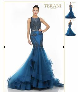 Queenly size 4 Terani Couture Blue Mermaid evening gown/formal dress