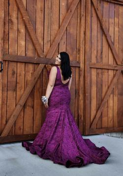 Jovani Purple Size 18 Backless Mermaid Plunge Train Dress on Queenly