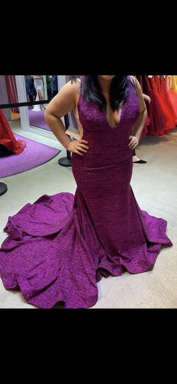 Queenly size 18 Jovani Purple Train evening gown/formal dress