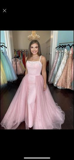 Queenly size 10 Sherri Hill Pink Train evening gown/formal dress