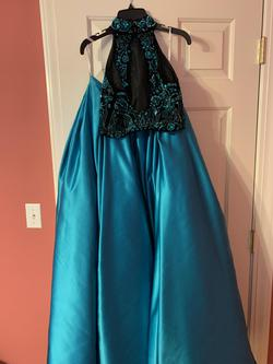 Sherri Hill Blue Size 2 Halter Tall Height Ball gown on Queenly