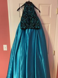 Queenly size 2 Sherri Hill Blue Ball gown evening gown/formal dress