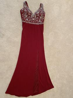 Crystal Doll Red Size 0 Prom Side slit Dress on Queenly