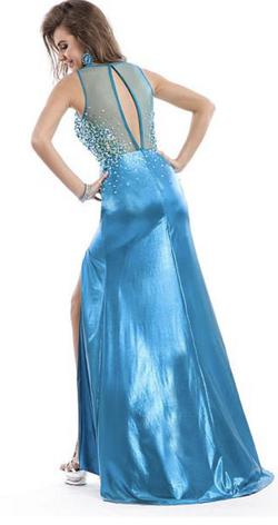 Party Time Formal Blue Size 0 Multicolor Pageant Side slit Dress on Queenly