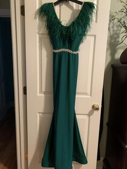Jessica Angel Green Size 0 Feather Pageant Straight Dress on Queenly
