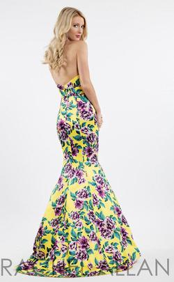 Rachel Allan Yellow Size 14 Backless Print Mermaid Dress on Queenly