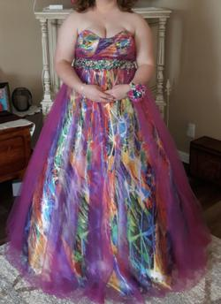 Queenly size 18  Multicolor Ball gown evening gown/formal dress