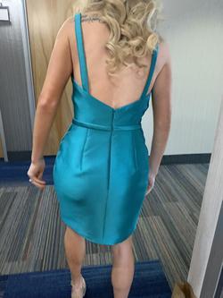 Sherri Hill Blue Size 4 Sorority Formal Silk Cocktail Dress on Queenly