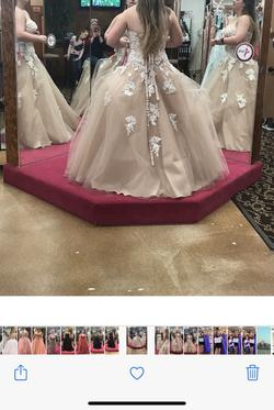 Mori Lee Nude Size 14 Sweetheart Prom Strapless Ball gown on Queenly