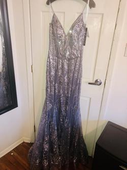 Jovani Silver Size 8 Grey Blue Mermaid Dress on Queenly