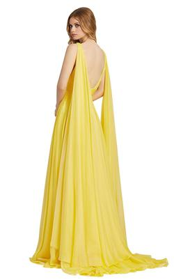Style 67391L Mac Duggal Yellow Size 6 Backless Cape Side slit Dress on Queenly