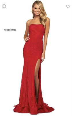 Sherri Hill Red Size 00 Lace Fitted Side slit Dress on Queenly