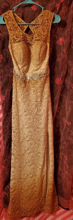 City Triangles Nude Size 12 Backless Lace Straight Dress on Queenly