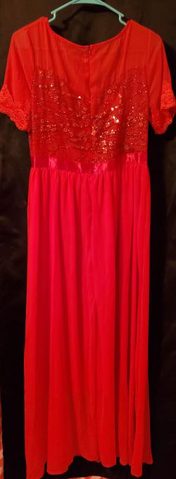 Unknown Red Size 26 Sleeves Pageant A-line Dress on Queenly
