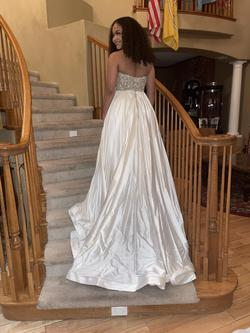 Sherri Hill White Size 4 Pageant Jewelled Train Dress on Queenly