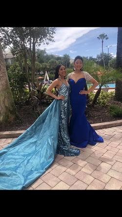 Sherri Hill Blue Size 0 Short Height Train Straight Dress on Queenly