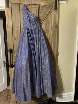 Jovani Blue Size 4 One Shoulder Ball gown on Queenly