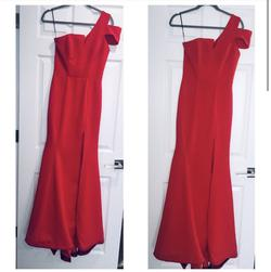 Nicole Bakti Red Size 4 Prom One Shoulder Straight Dress on Queenly