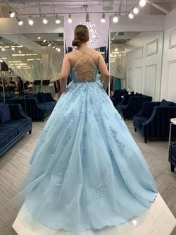 Sherri Hill Blue Size 10 Corset Ball gown on Queenly