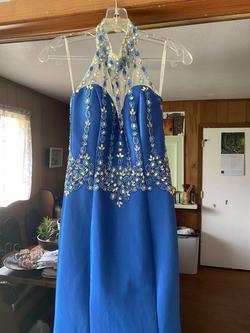 Rachel Allan Blue Size 4 Sheer Tall Height Train Dress on Queenly