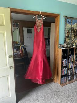 Queenly size 12 Rachel Allan Red Train evening gown/formal dress
