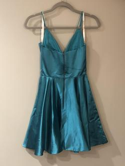 Sherri Hill Blue Size 0 Tall Height Silk Cocktail Dress on Queenly