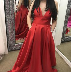 Style 52597 Sherri Hill Red Size 4 Prom Plunge A-line Dress on Queenly