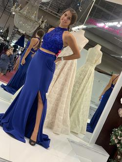 Mori Lee Blue Size 4 Halter Tall Height Side slit Dress on Queenly