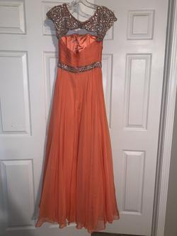 Sherri Hill Orange Size 2 Sequin Cap Sleeve Straight Dress on Queenly