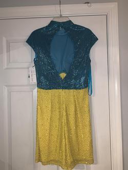 Ashley Lauren Multicolor Size 2 Turquoise Custom Liquid Beading Jumpsuit Dress on Queenly