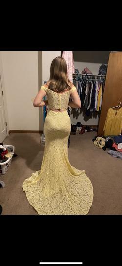 La Femme Yellow Size 00 Side Slit Train Dress on Queenly